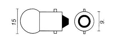 Gloeilamp voorlamp 6Vx0,50A=3,0W BA9s bajonet, Bosma